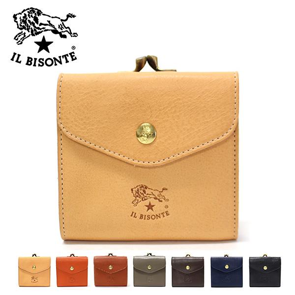【2019SS】イル ビゾンテ がま口&スナップ レザー二つ折り財布C0423 P /IL BISONTE/l-wallet