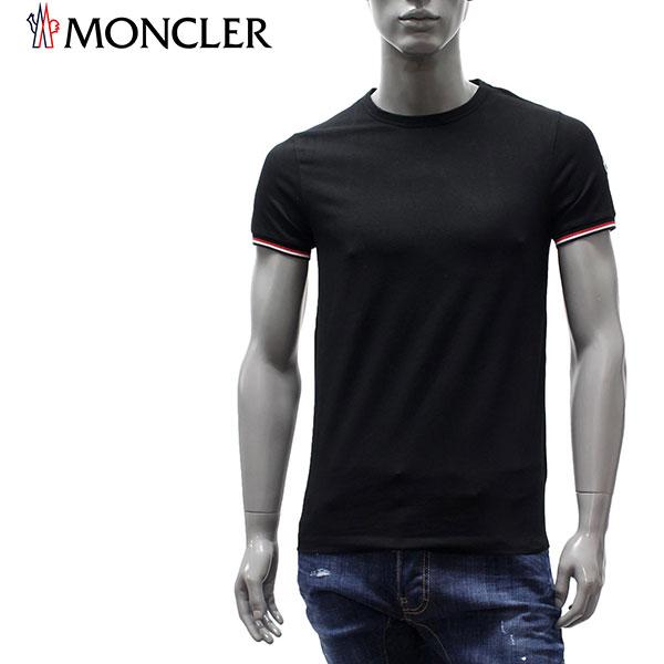 【2020SS】モンクレール トリコロール袖 ワッペン付き半袖Tシャツ【ブラック】8C716 87296 999/MONCLER/m-tops