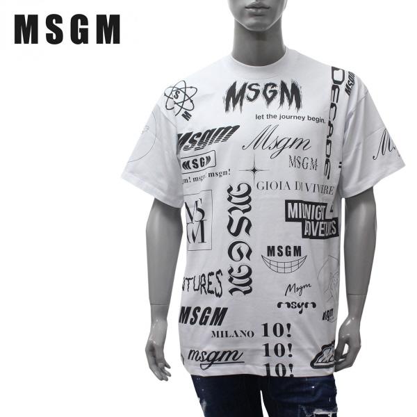 【2020SS】エムエスジーエム 総柄ロゴプリント 半袖Tシャツ【ホワイト】2840MM101 207098 01/MSGM/m-tops