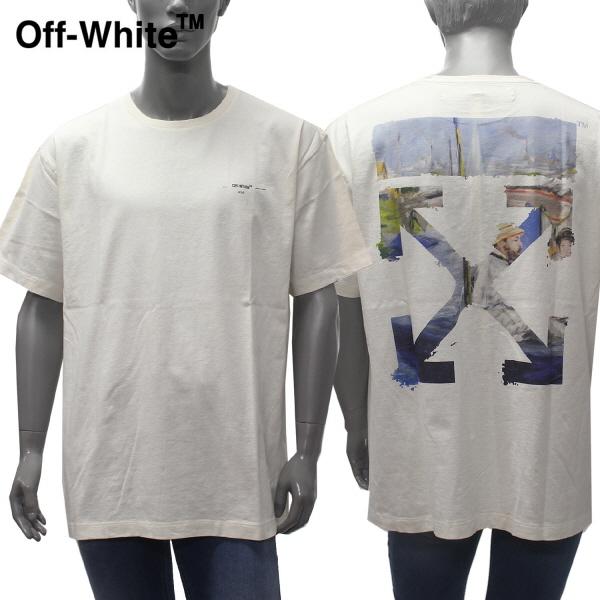 【2019SS】オフホワイトOVERサイズ バック絵画プリント 半袖Tシャツ【オフホワイト(アイボリー)】OMAA038R19185012 0288/OFF-WHITE/m-tops