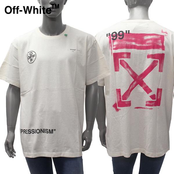 【2019SS】オフホワイトOVERサイズ バックプリント 半袖Tシャツ【オフホワイト(アイボリー)】OMAA038R19185015 0288/OFF-WHITE/m-tops
