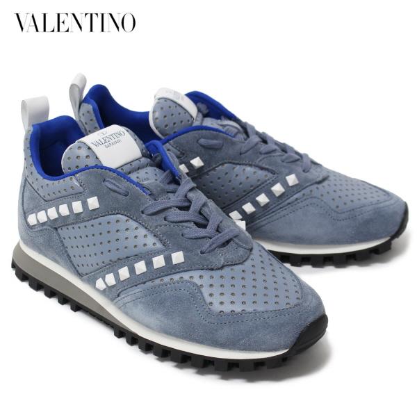 ヴァレンティノ・ガラヴァーニスタッズ×レザースニーカー【アイスグレー】JY0S0895NFS L32/Valentino Garavani/m-shoes