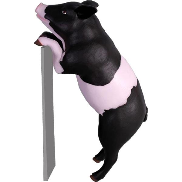 アニマルビッグフィギュアシリーズ【好奇心の強い豚(ブタ)黒模様】(等身大フィギュア)