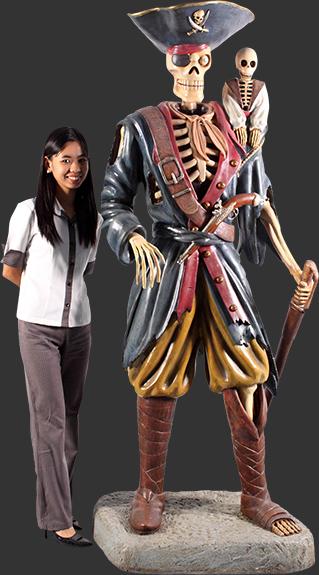 スケルトン(骸骨)パイレーツと猿(海賊船長)・等身大フィギュア
