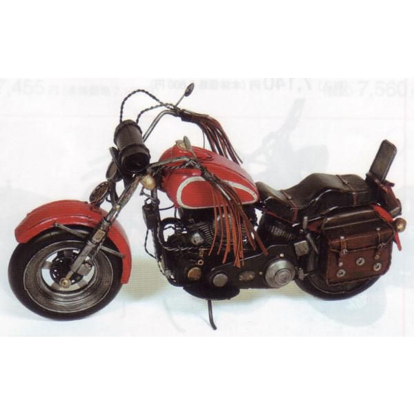 ブリキのおもちゃ レトロバイク レッド×ブラック L