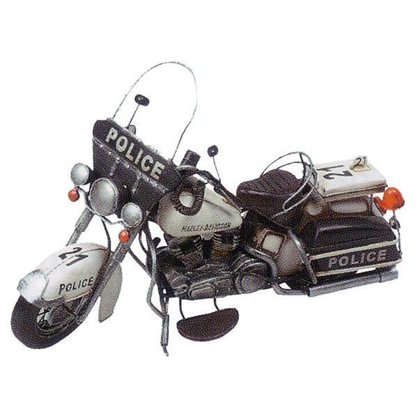 ブリキのおもちゃ レトロバイク ポリス(白バイ) ブラック&シルバー