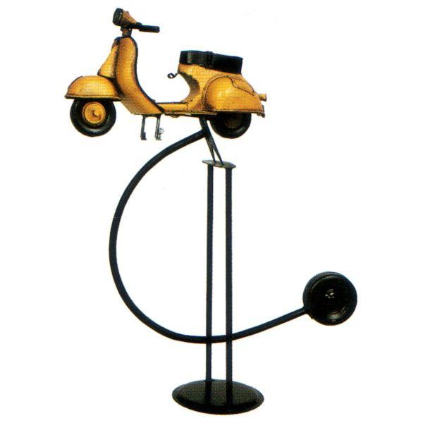 ブリキのおもちゃ レトロバイク バランス スクーター イエロー