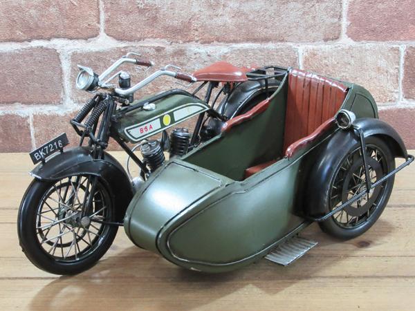 ブリキのおもちゃ レトロバイク・サイドカー・グリーン3