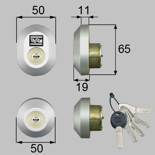 LIXIL/TOSTEM製玄関ドア用ドア錠セット(MIWA DNシリンダー)楕円 D5GZ3021[リクシル][トステム]