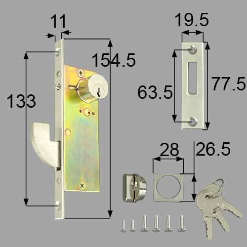LIXIL/TOSTEM製玄関引戸用引手錠 引戸戸先内外錠セット(エース ピンシリンダー) NETDA00016【リクシル】【トステム】