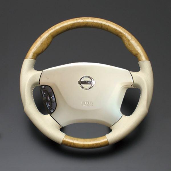 エルグランド ステアリング 新入荷 流行 E51 H14.5-H22.7 ルナ 新作製品 世界最高品質人気 LUNA 黄木目xベージュレザー LS01AN