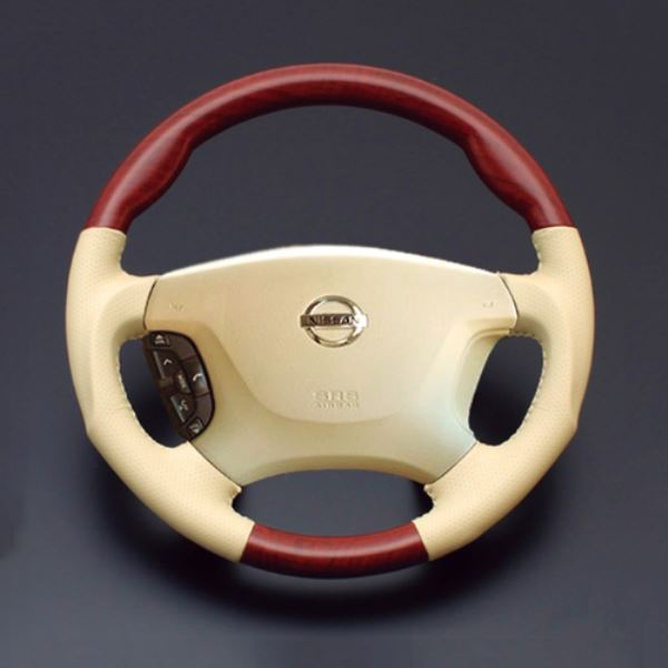 セドリック ステアリング Y34 H11.6-H16.10 LS03AN 日本製 人気ブランド多数対象 ルナ 柾木目xベージュレザー LUNA