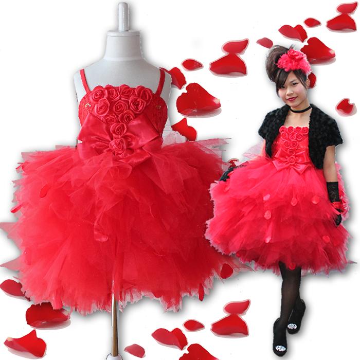 赤いバラの花びらが舞う子供ドレス発表会結婚式キッズドレスチュール激安