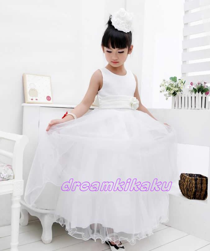 こどもドレス 結婚式 子供ドレス jewel 演奏会 フラワーガール 子供ロングドレス 発表会 チュチュ パニエ ロング 【90・100・105・110・115・120・125・130・140cm】 幅広ウエストの花飾付きスカートは贅沢5枚重ねボリュームゴージャス