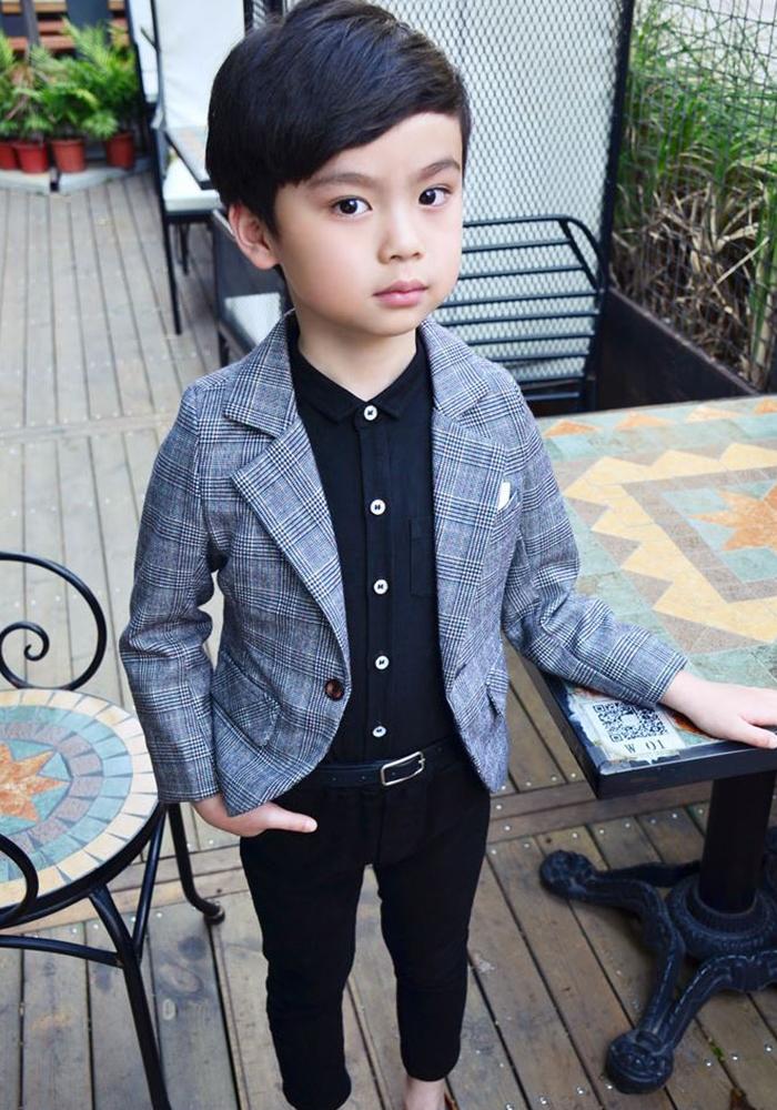 9f12d8ca5 dreamkikaku  Boy suit tweed check top and bottom set jacket ...