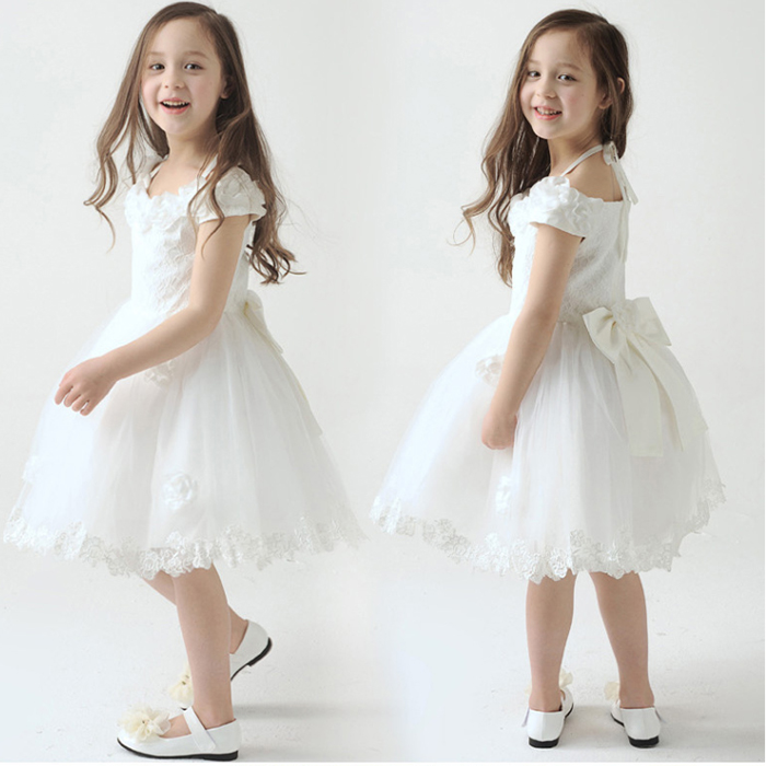 White Kids Dress Children Dresses Flower Petticoat Visceral Stage Costumes Wedding Quinceanera