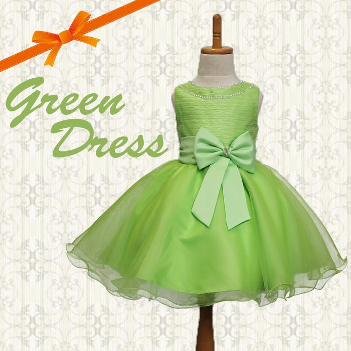 フェアリー気分のふわふわグリーンAラインリボンドレスドレス・キッズドレス・子供ドレス