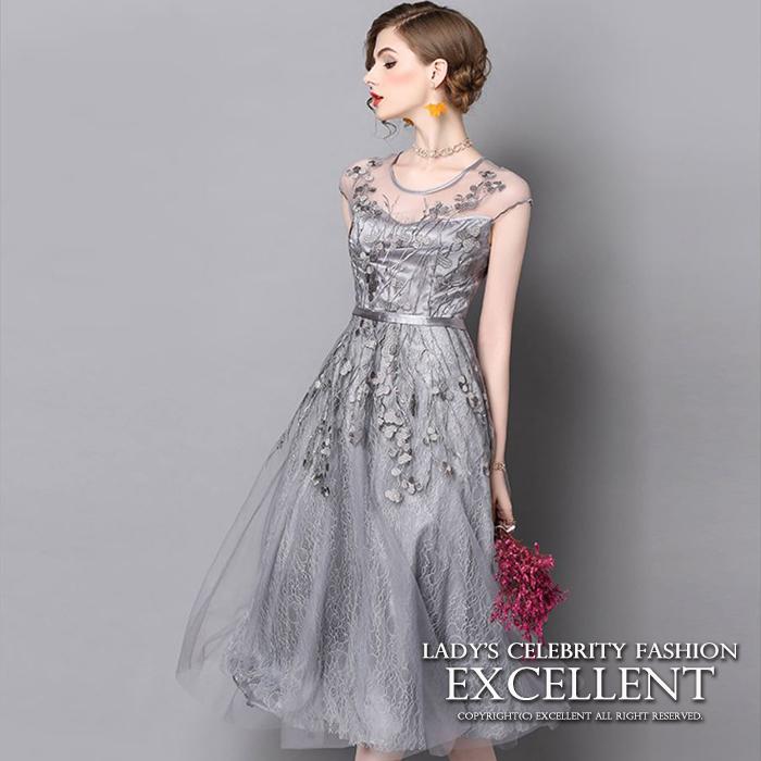 パーティードレスエレガント ワンピース結婚式ドレス ロング総レースドレス刺繍ドレスチュールレース 大人ドレスお呼ばれ シルバー 銀 S/M/L/XL