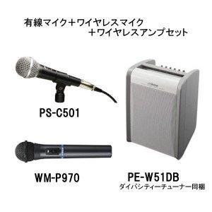 ビクター/ケンウッドPE-W51DB+WM-P970+PS-C501ポータブルワイヤレスアンプ(ダイバシティチューナー1波同梱) +ワイヤレスマイクロホン+有線マイクロホンセット