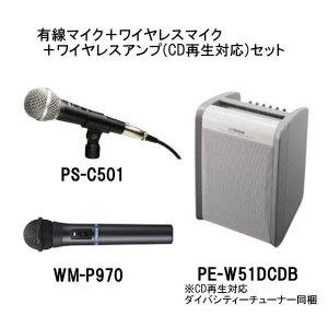 ビクター/ケンウッド PE-W51DCDB+WM-P970+PS-C501ポータブルワイヤレスアンプ(ダイバシティチューナー1波同梱)+ワイヤレスマイク+有線マイクロホンセット