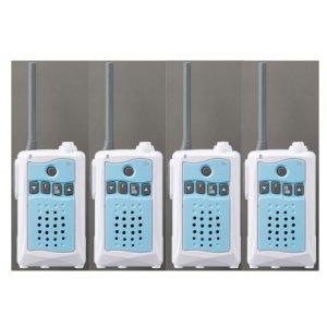 アルインコ 特定小電力トランシーバー DJ-CH3A (アクアブルー)交互通話・中継対応 47ch4台セット(無線機・インカム)