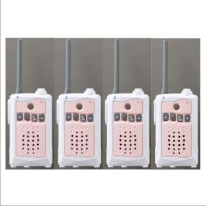 アルインコ特定小電力トランシーバーDJ-CH3P (ピンク) 交互通話・中継対応 47ch4台セット(無線機・インカム)