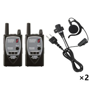 ALINCO アルインコ特定小電力トランシーバー×2+イヤホンマイク×2セットDJ-P921S(ショートアンテナ)+EME-652MA2台セット(無線機・インカム)