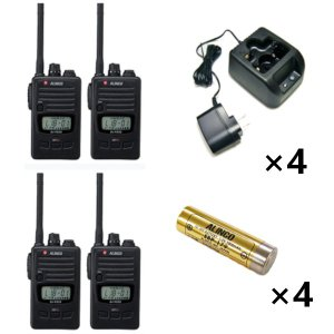 ALINCO アルインコ 特定小電力トランシーバ×4+充電器×4+バッテリー×4セットDJ-P222M+EDC-181A+EBP-1794台セット(無線機・インカム)
