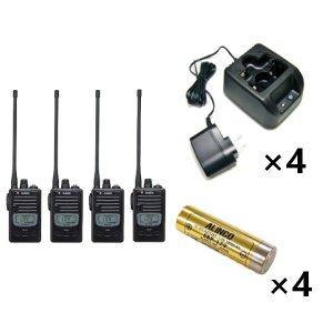 ALINCO アルインコ 特定小電力トランシーバー×4+充電器×4+バッテリー×4セットDJ-P221L+EDC-181A+EBP-1794台セット(無線機・インカム)
