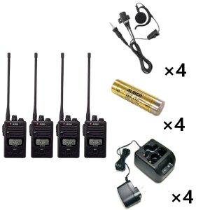 ALINCO アルインコ 特定小電力トランシーバー×4+充電器×4+バッテリー×4+イヤホン×4セットDJ-P222L+EDC-181A+EBP-179+EME-654MA4台セット