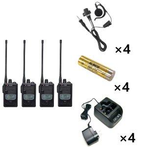 ALINCO アルインコ 特定小電力トランシーバー×4+充電器×4+バッテリー×4+イヤホン×4セットDJ-P221L+EDC-181A+EBP-179+EME-654MA4台セット