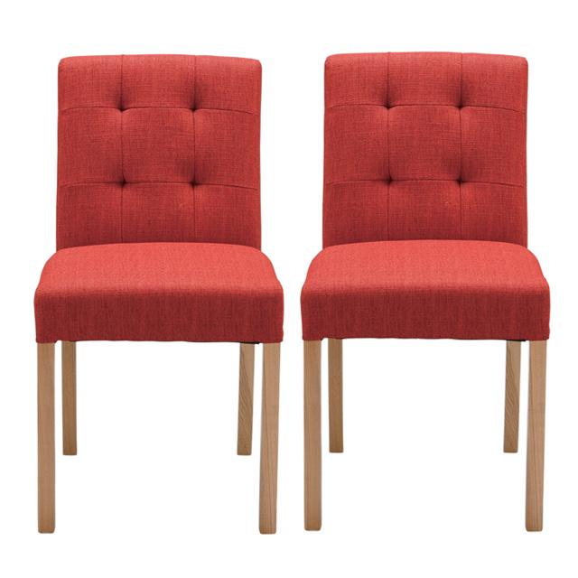 ダイニングチェアー 布張り製 2脚セット レッド 赤 食堂椅子 食堂イス 食卓チェアー 食堂チェアー カウンターチェアー いす カフェチェアー