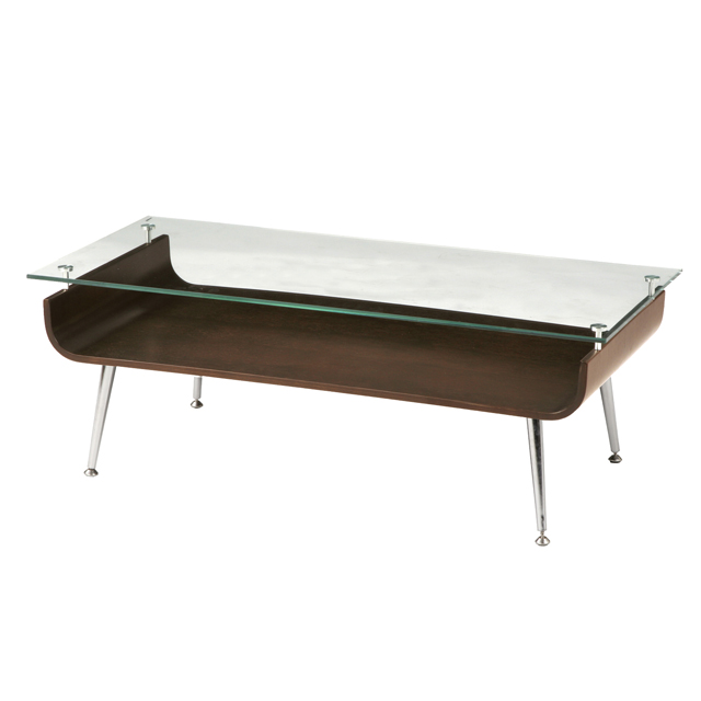 センターテーブル ローテーブル リビングテーブル コーヒーテーブル てーぶる ガラステーブル ガラス製 96cm幅 ブラウン