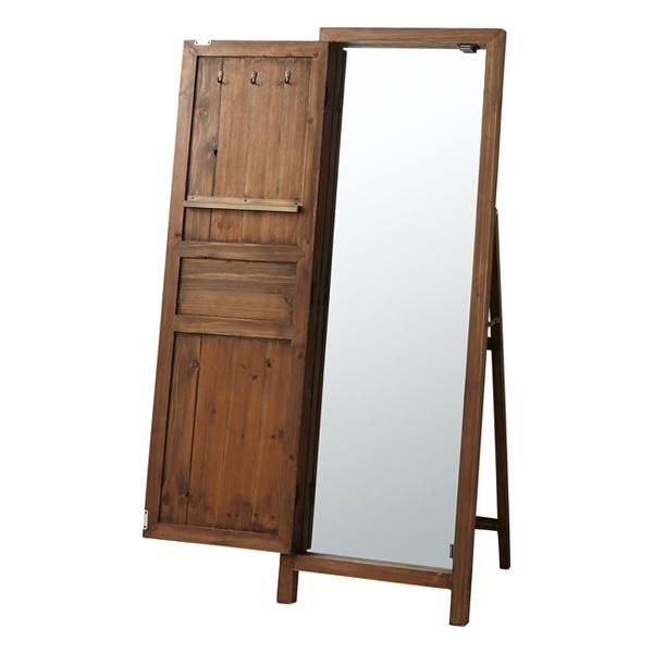 スタンドミラー 全身鏡 姿見鏡 木製 北欧風 スタンドミラー ブラウン
