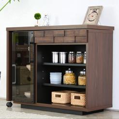 キッチンデスク 木製 スタイリッシュ 100cm幅 幅100cm ブラウン