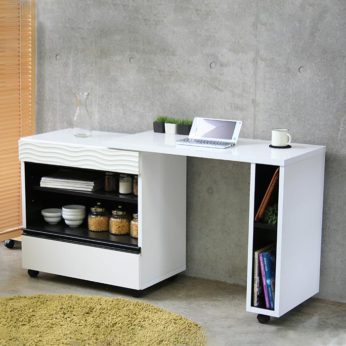キッチンカウンター キッチンデスク 完成品 キッチン収納家具 食器収納 食器棚 スタイリッシュ国産品 日本製 ホワイト 白