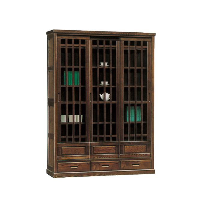 【設置無料】書棚 本棚 完成品 ブックシェルフ 本収納 収納棚 キャビネット リビング収納 飾り棚 飾棚 扉付き 木製 和風 132cm幅 ブラウン 国産品 日本製