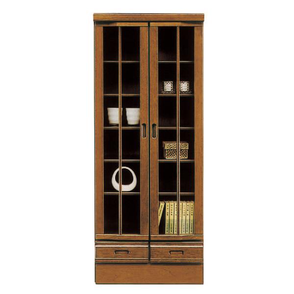 キャビネット 完成品 木製 モダン 60cm幅 幅60cm ブラウン リビング収納家具 サイドボード 飾り棚 飾棚 リビングボード 収納棚 リビングラック シェルフ 国産品 日本製