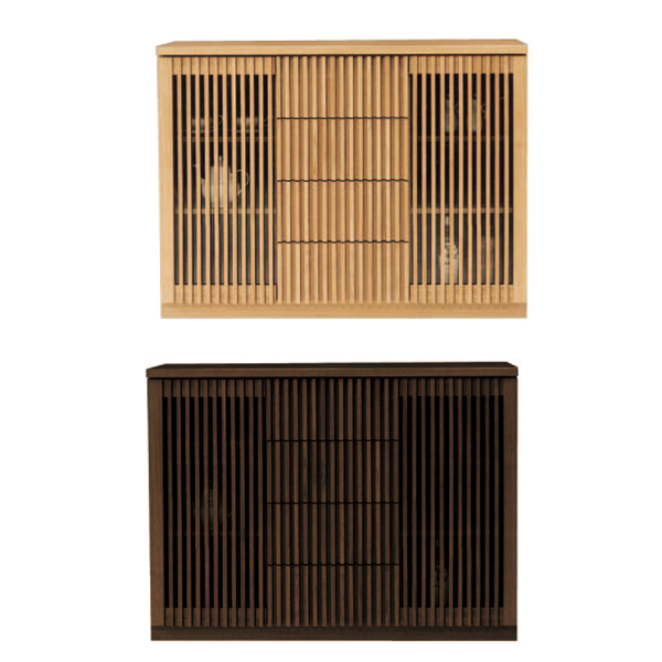 キャビネット 完成品 120cm幅 幅120cm 木製 和風 ナチュラル ブラウン リビング収納家具 サイドボード 飾り棚 飾棚 リビングボード 収納棚 リビングラック シェルフ