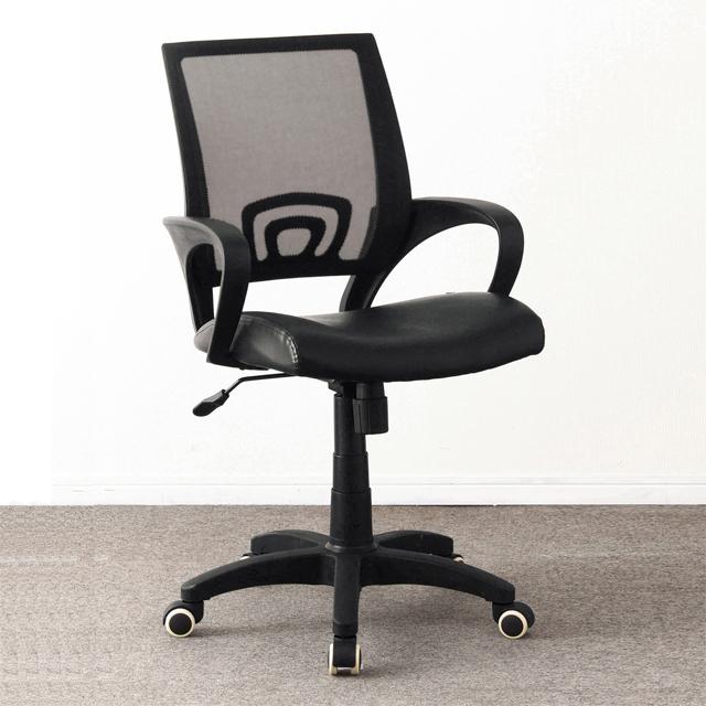 オフィスチェアー 事務用チェアー 事務用椅子 デスクチェアー ワークチェアー パソコンチェアー ワーキングチェアー おしゃれ モダン 肘付き メッシュ ブラック 黒
