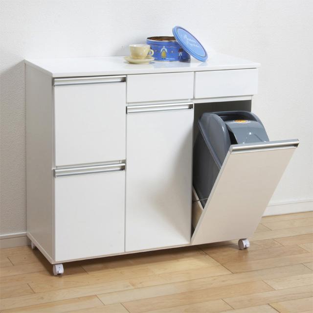 ダストボックス ダストカウンター キッチンカウンター 2分別用 ゴミ箱 おしゃれ レンジラック 完成品 木製 モダン 幅80cm 80cm幅 80幅 キャスター付き 引き出し付き ホワイト 白