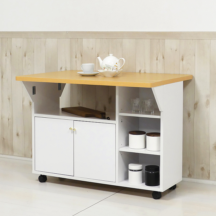 キッチンカウンター 木製 シンプル 幅90cm 90cm幅 90幅 両バタ キャスター付き ホワイト 白 キッチン収納家具 食器収納 食器棚 家電収納 キッチンボード