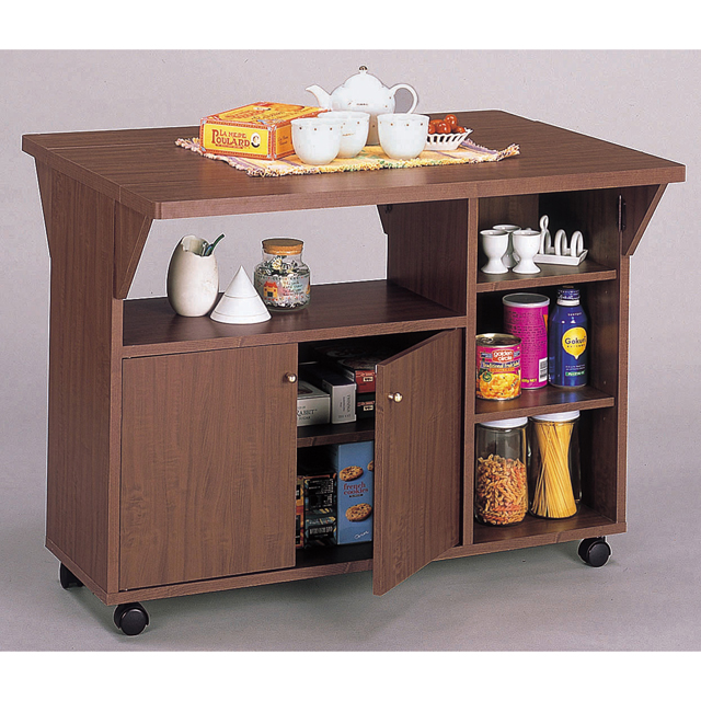 キッチンカウンター 木製 シンプル 幅90cm 90cm幅 90幅 両バタ キャスター付き ブラウン キッチン収納家具 食器収納 食器棚 家電収納 キッチンボード