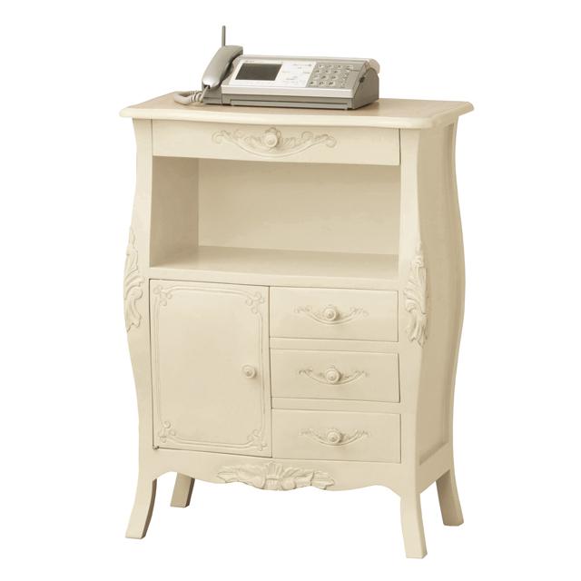 電話台 FAX台 完成品 ファックス台 TEL台 キャビネット シェルフ リビング収納家具 リビングラック リビングボード 木製 ヨーロッパ 脚付き ホワイト 白