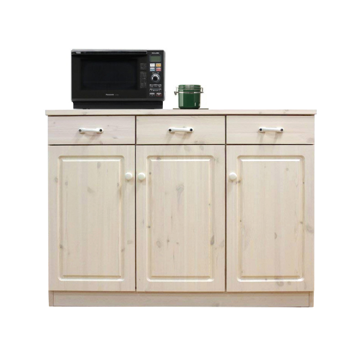 キッチンカウンター 完成品 幅113cm キッチン収納家具 食器収納 食器棚 家電収納 キッチンボード ホワイト 白ウォッシュ