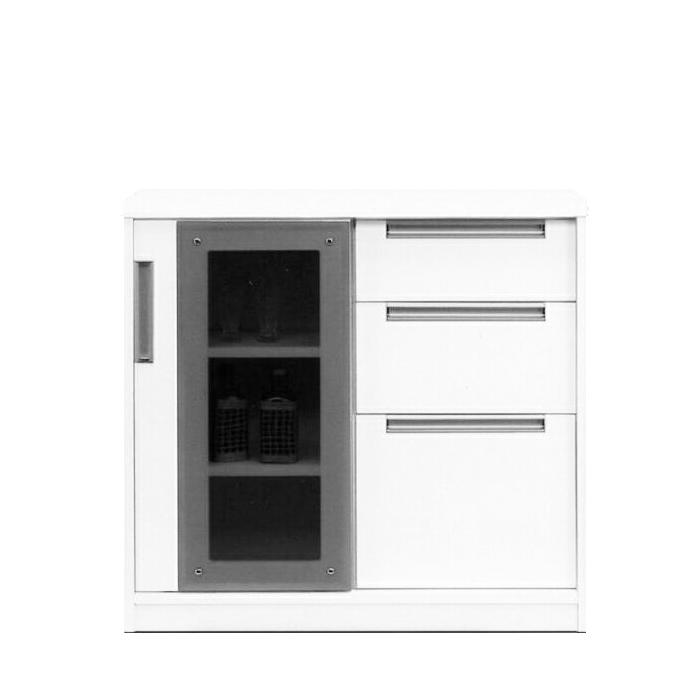 キャビネット 完成品 90cm幅 幅90cm 引き戸 ホワイト 白 リビング収納家具 サイドボード 飾り棚 飾棚 リビングボード 収納棚 リビングラック シェルフト 国産品 日本製