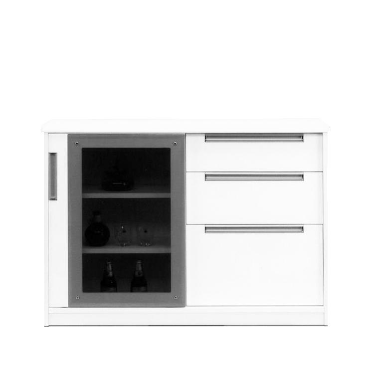 キャビネット 完成品 120cm幅 幅120cm 引き戸 ホワイト 白 リビング収納家具 サイドボード 飾り棚 飾棚 リビングボード 収納棚 リビングラック シェルフト 国産品 日本製