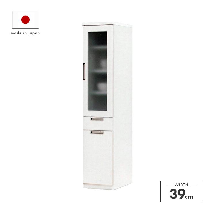 食器棚 完成品 スリム 幅40cm 40cm幅 40幅 高さ180cm ダイニングボード キッチンボード 食器収納 キッチン収納棚 水屋 シンプル ホワイト 白 国産品 日本製