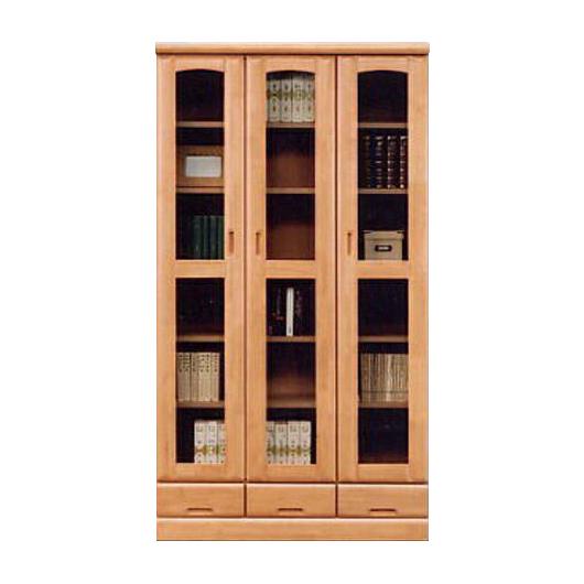 【設置無料】書棚 本棚 完成品 ブックシェルフ 本収納 収納棚 キャビネット リビング収納 飾り棚 飾棚 扉付き 木製 90cm幅 幅90cm ライトブラウン 国産品 日本製