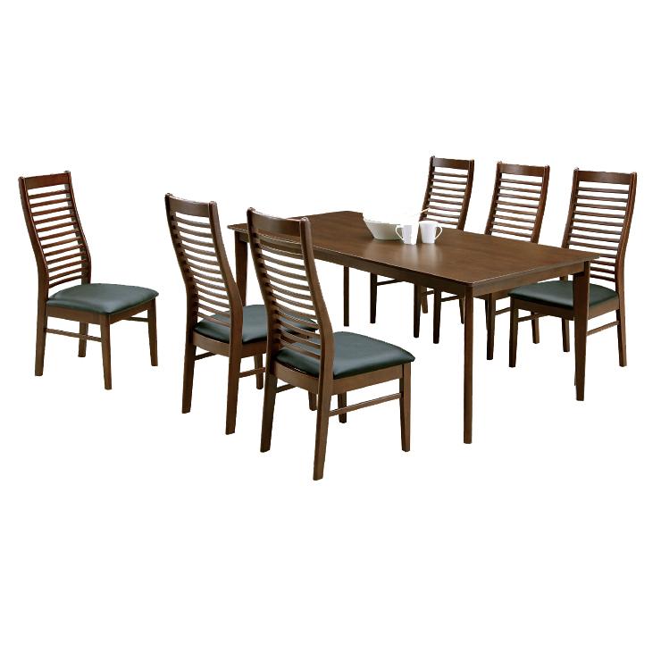 ダイニング7点セット ダイニングテーブルセット 6人掛け カフェテーブルセット 食堂セット 食卓セット 6人用 六人用 六人掛け 木製 北欧風 ダークブラウン